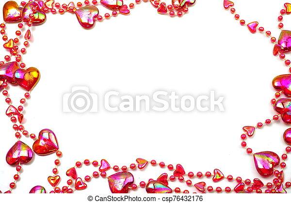 espacio de copia, cuenta, frontera, corazón rojo, marco, fondo blanco - csp76432176