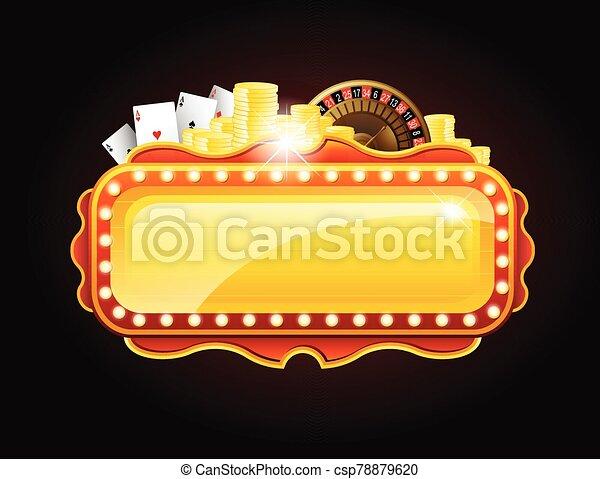 espacio, dorado, señal, bandera, casino, copia - csp78879620