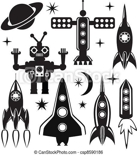 El vector estilizó símbolos espaciales - csp8590186
