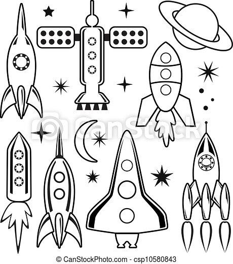 El vector estilizó símbolos espaciales - csp10580843