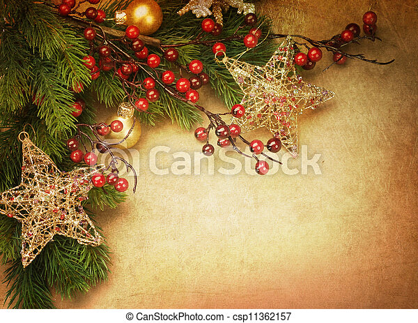 Tarjeta de Navidad vintage con espacio de copia - csp11362157