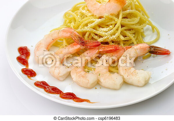 espaguetis, camarones - csp6196483