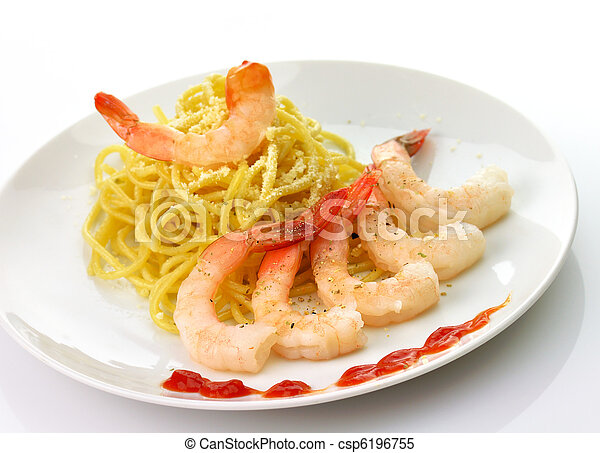 espaguetis, camarones - csp6196755