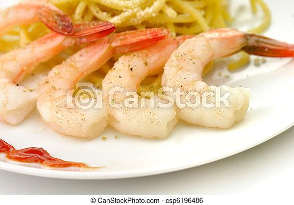 espaguetis, camarones - csp6196486