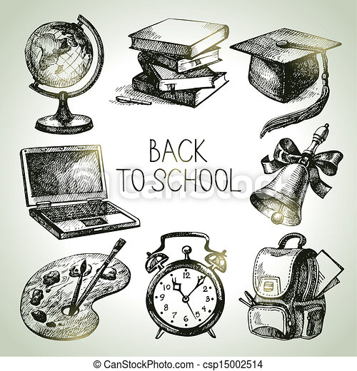 Objeto de la escuela vectorial a mano. De vuelta a las ilustraciones escolares - csp15002514