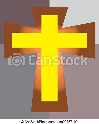 Cruz de Jesús amarillo en dos tonos de vuelta - csp20767102