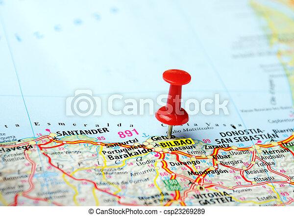 Espanha Bilbao Mapa Mapa Conceito Alfinete Viagem Cima