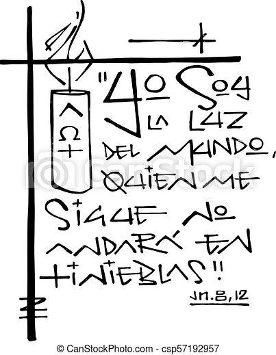 espanhol frase ilustração religiosa segue luz escuridão