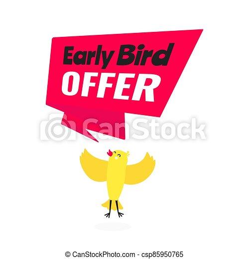 especial, estilo, temprano, acontecimiento, oferta, venta, bandera, plano, pájaro, vector, illustration., descuento, diseño - csp85950765