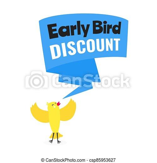 especial, estilo, temprano, acontecimiento, oferta, venta, bandera, plano, pájaro, vector, illustration., descuento, diseño - csp85953627