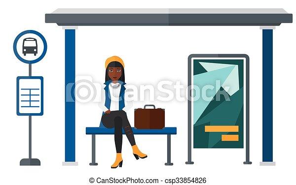 Mujer esperando el autobús. - csp33854826