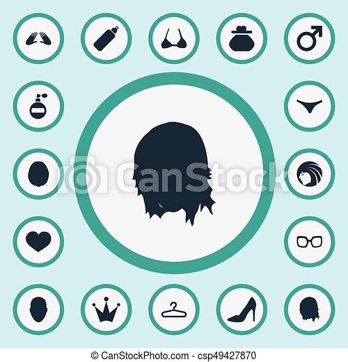 espetáculos, vetorial, outro, guarda-roupa, glasses., simples, icons., synonyms, elementos, jogo, heirdressing, coração, glamour, ilustração, panties - csp49427870