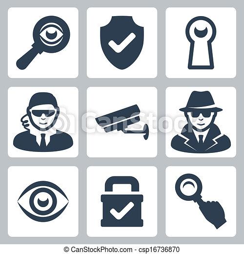 espion, bouclier, heyhole, icônes, serrure, magnifier, espion, surveillance, vecteur, appareil photo, verre, homme sécurité, oeil, set: - csp16736870