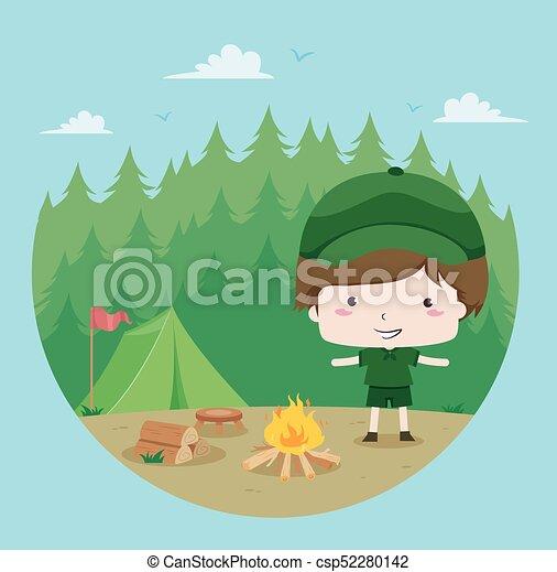 esploratore ragazzo, foresta - csp52280142