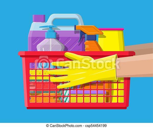 Una botella de jabón de esponja detergente y guantes de goma - csp54454199