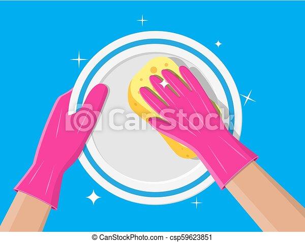 La mano en guantes con esponja de lavado. - csp59623851