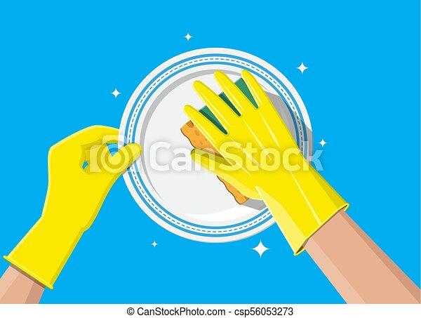 La mano en guantes con esponja de lavado - csp56053273