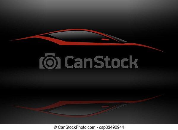 esportes, silueta, vermelho, veículo - csp33492944