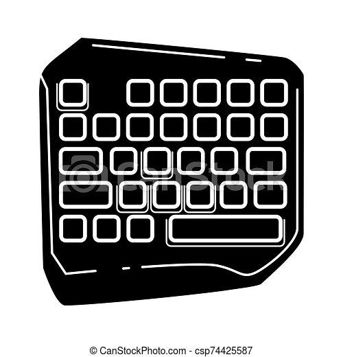 esports, símbolo., juego, ilustración, cortocircuito, computadora, keyboard., vector, juego, teclado, glyph, silueta, equipment., aislado, icon., device. - csp74425587