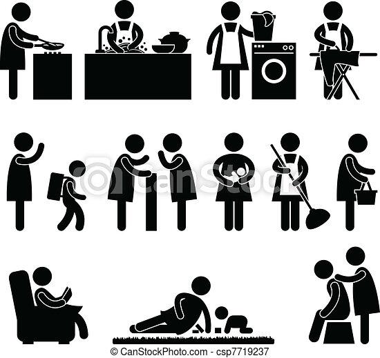 esposa, mujer, madre, rutina diaria - csp7719237