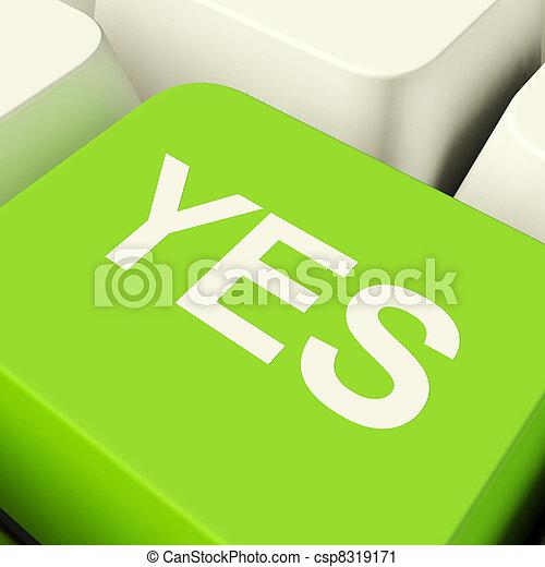 esposizione, computer, chiave verde, approvazione, sì, sostegno - csp8319171