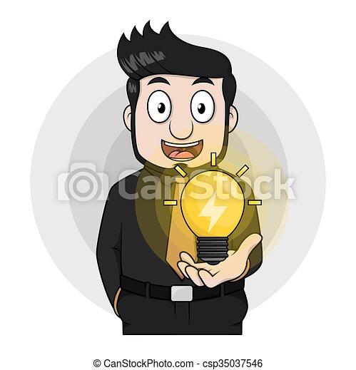 esposizione, uomo, lampada, idea affari - csp35037546