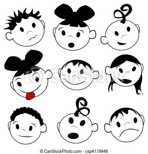 Espressioni Bambini Sopra Disegno Stilizzato Espressioni