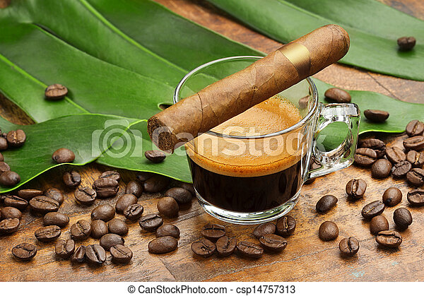 espresso and cigar - csp14757313