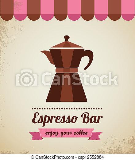Espresso bar vinatge poster with macchinetta - csp12552884