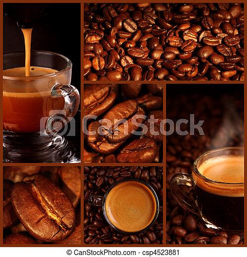 Espresso coffee collage - csp4523881