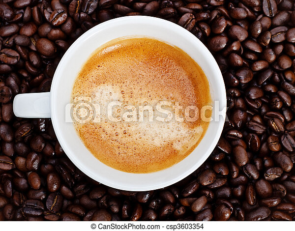 espresso cup in coffee beans - csp3603354