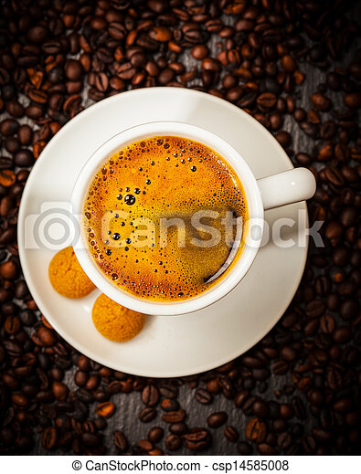 Espresso cup in coffee beans - csp14585008