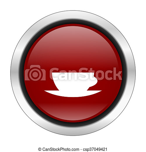 espresso icon, red round button isolated on white background, web design illustration - csp37049421
