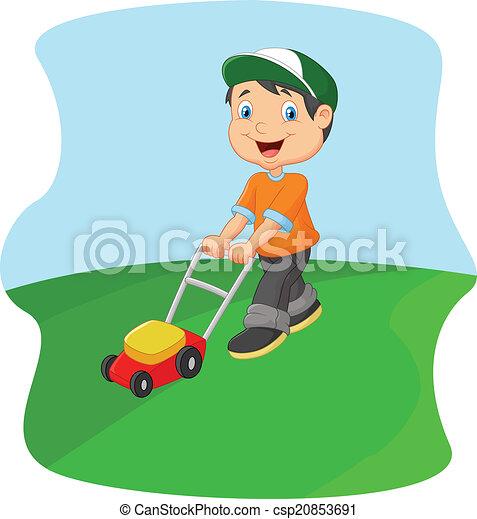 esprit, découpage, jeune, herbe, homme, dessin animé - csp20853691
