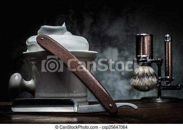 espuma, raspar, fundo, madeira, navalhas, tigela - csp25647064