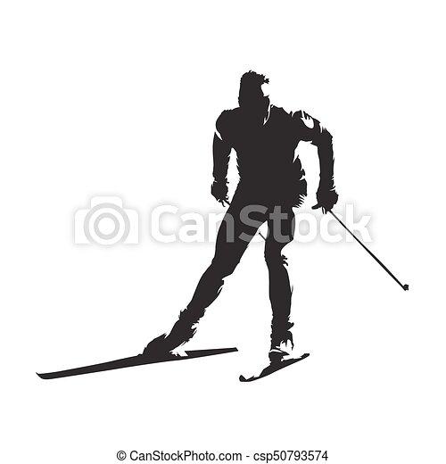 Esquíes en el campo, silueta de vector abstracto - csp50793574