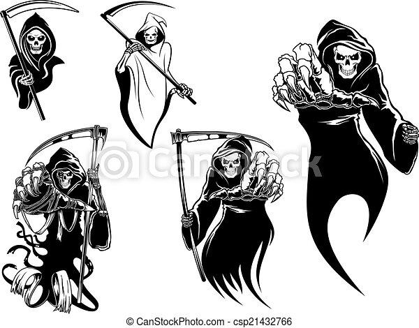 Personajes esqueleto de la muerte - csp21432766