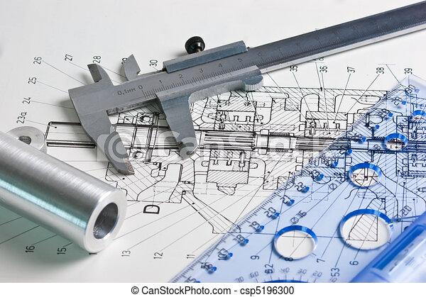 esquema, calibrador, mecánico - csp5196300