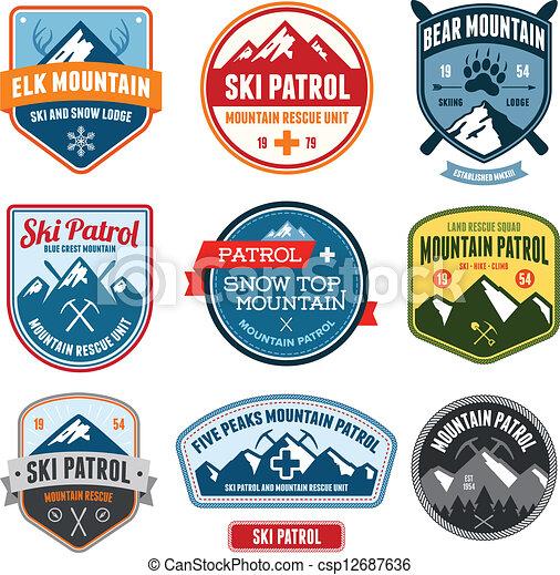esqui, emblemas - csp12687636