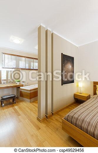 Esquina, cuarto de baño, dormitorio, elegante. Cuarto de baño ...