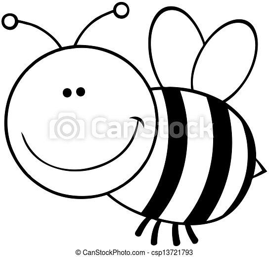 esquissé, caractère, dessin animé, abeille - csp13721793