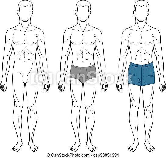 Esquissé, mode, gabarit, homme. Mode, silhouette, gabarit, figure, esquissé,  isolé, illustration, longueur, vecteur, entiers   CanStock