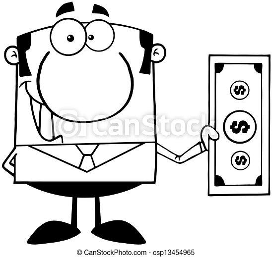 esquissé, sourire, homme affaires - csp13454965