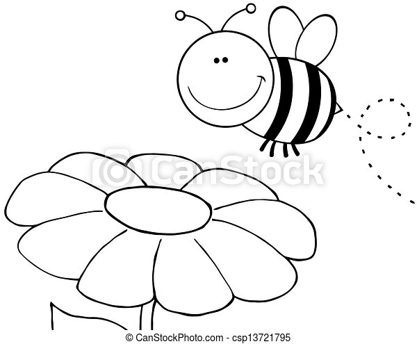 esquissé, voler plus, fleur, abeille - csp13721795