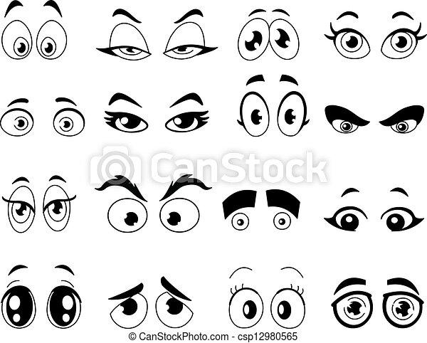esquissé, yeux, dessin animé - csp12980565