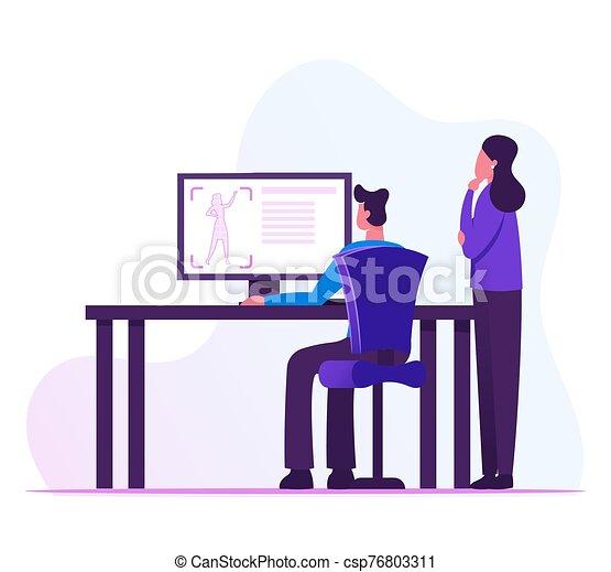 essai, illustration, mâle, écran, entrepreneurs, vecteur, femme, figure., industriel, plat, concepteurs, dessin animé, informatique, regarder, processus, science, laboratoire, création, imprimante, prototype, 3d - csp76803311