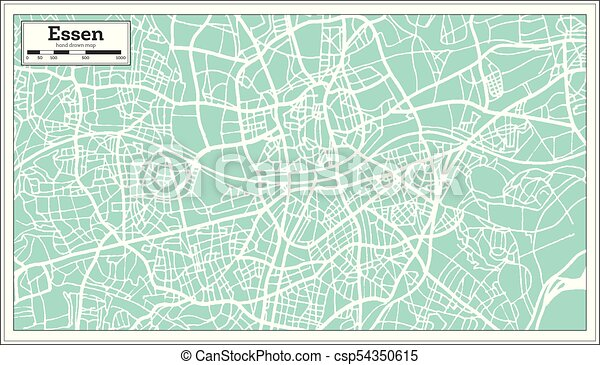 Map Of Germany Essen.Essen Germany City Map In Retro Style Outline Map