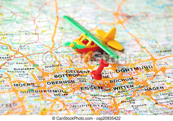 Essen Germany Map Airplane Close Up Of Essen Map With Red Pin And