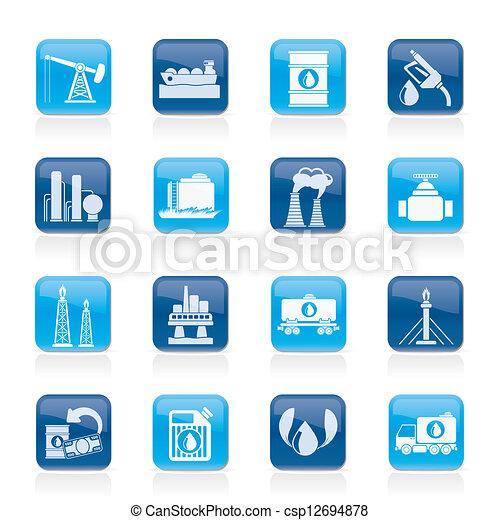 essence, industrie, huile, icônes - csp12694878