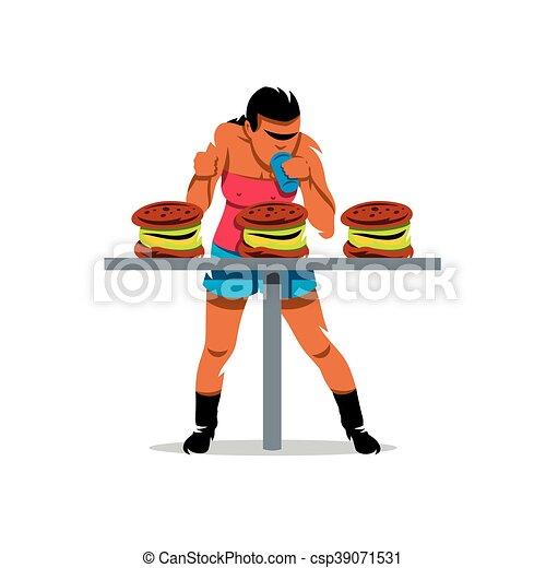 essende, illustration., lebensmittel, athlet, schnell, vektor, geschwindigkeit, karikatur - csp39071531